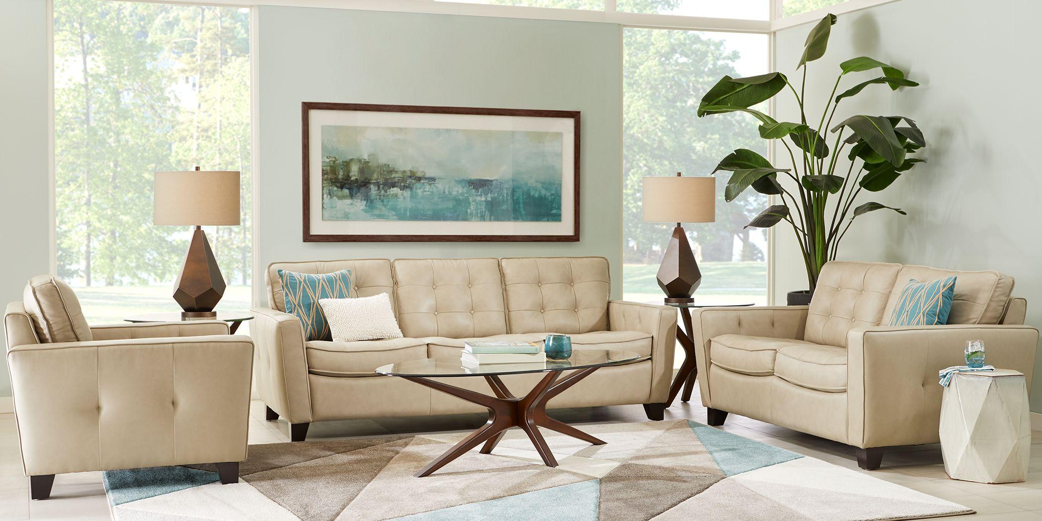 Via Rosano Latte 8 Pc Leather Living Room
