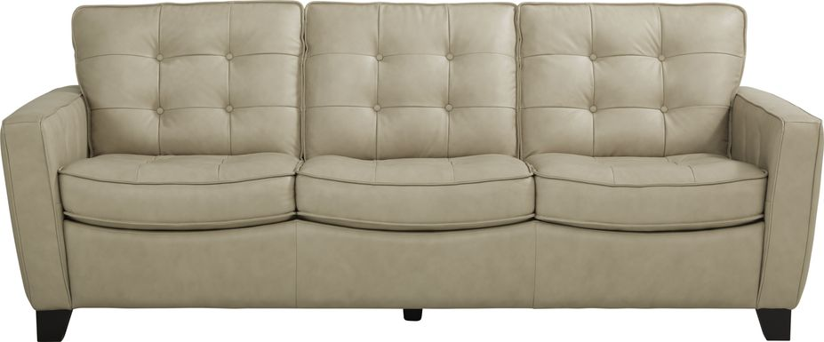 Via Rosano Latte Leather Sofa