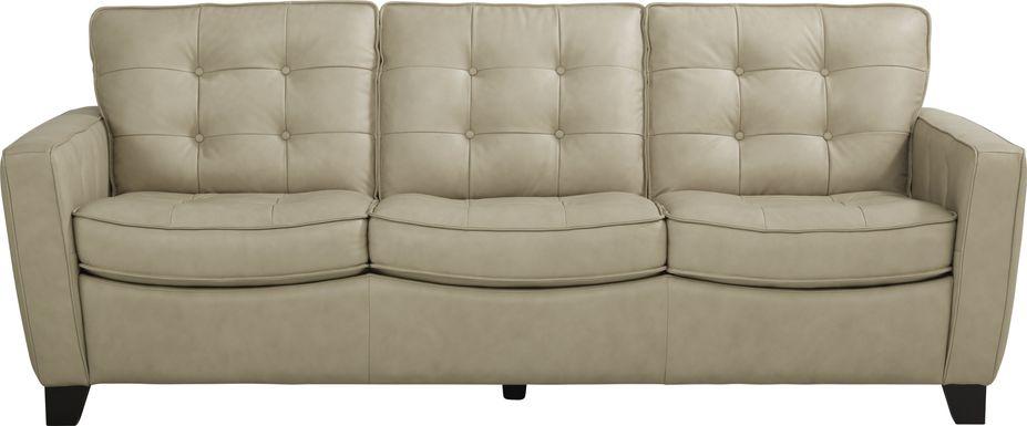 Via Rosano Latte Leather Sofa