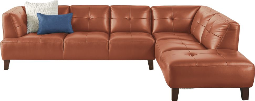 Villa Capri 2 pc Orange Leather Sectional