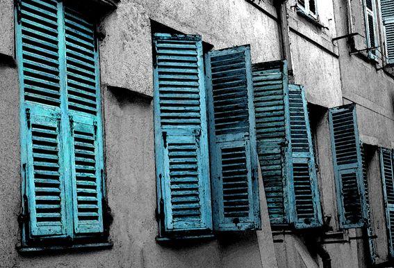 Vintage Shutters Turquoise Artwork