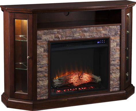 Wakerobin II Espresso 52 in. Console With Electric Fireplace