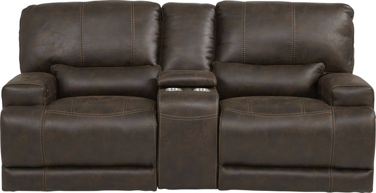 Warrendale Chocolate Power Reclining Console Loveseat