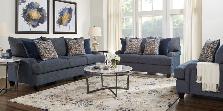 Waverly Park Blue 8 Pc Living Room