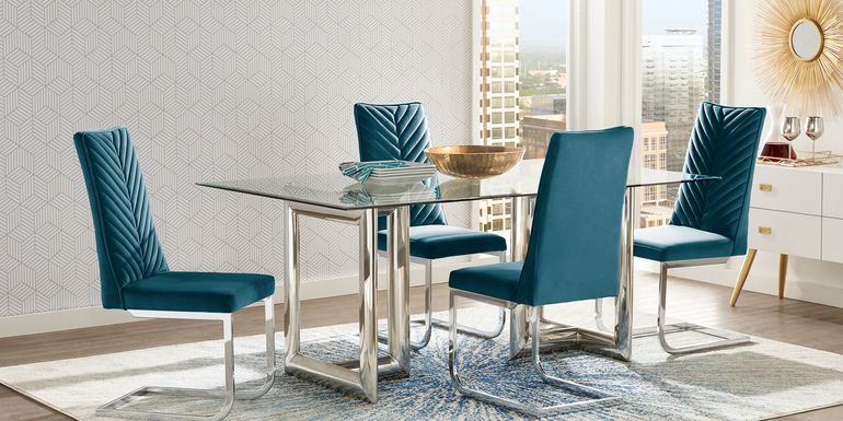 Waycroft Silver 5 Pc Dining Room with Blue Chairs