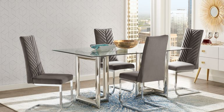 Waycroft Silver 5 Pc Dining Room with Charcoal Chairs