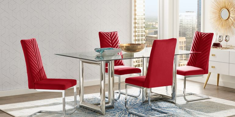 Waycroft Silver 5 Pc Dining Room with Red Chairs