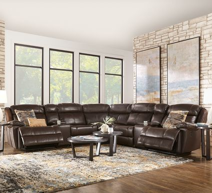 West Valley Brown 10 Pc Leather Power Reclining Sectional Living Room