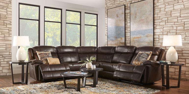 West Valley Brown 5 Pc Leather Power Reclining Sectional
