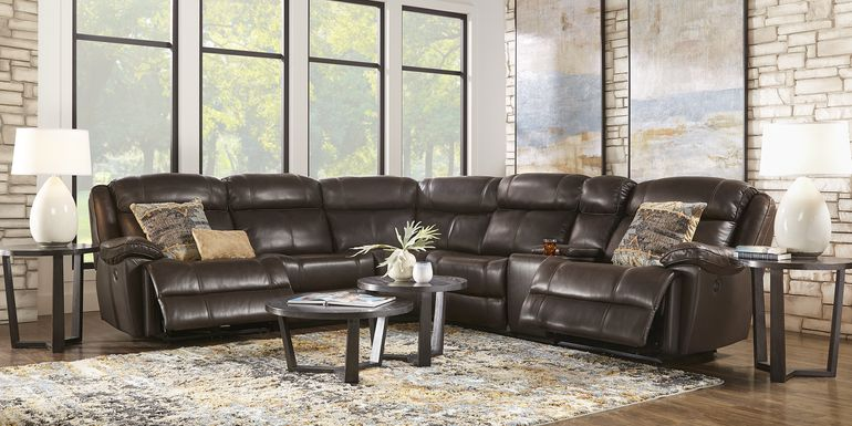 West Valley Brown 6 Pc Leather Power Reclining Sectional
