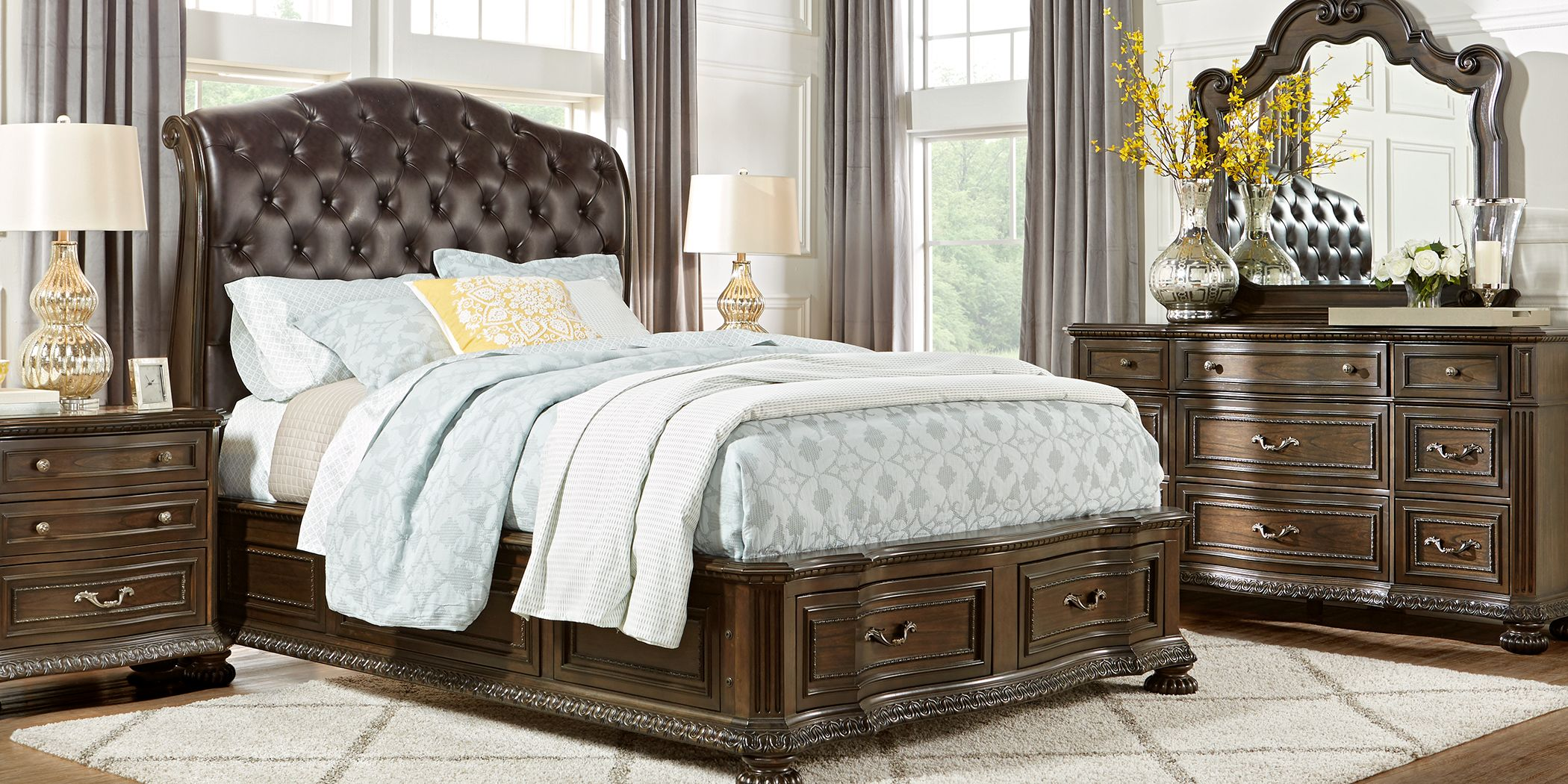Whittington Cherry 5 Pc King Sleigh Bedroom with 4 Drawer Storage
