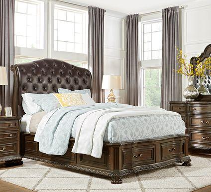 Whittington Cherry 7 Pc King Sleigh Bedroom with 4 Drawer Storage