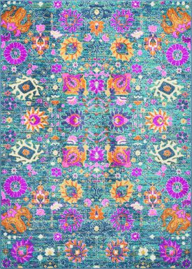 Kids Wildflower Blue 5'3 x 7'3 Rug