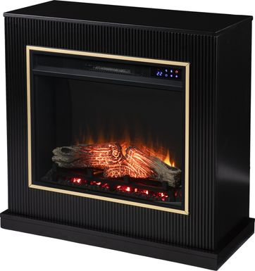 Willaurel II Black 33 in. Console, With Electric Log Fireplace