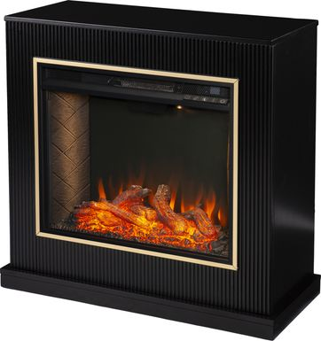 Willaurel III Black 33 in. Console, With Smart Electric Fireplace