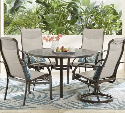 Windy Isle Bronze 5 Pc 48 in. Round Outdoor Dining Set with Swivel Rockers