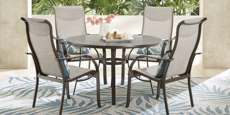 Windy Isle Bronze 5 Pc 48 in. Round Outdoor Dining Set