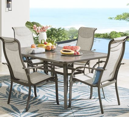 Windy Isle Bronze 5 Pc 72 in. Rectangle Outdoor Dining Set