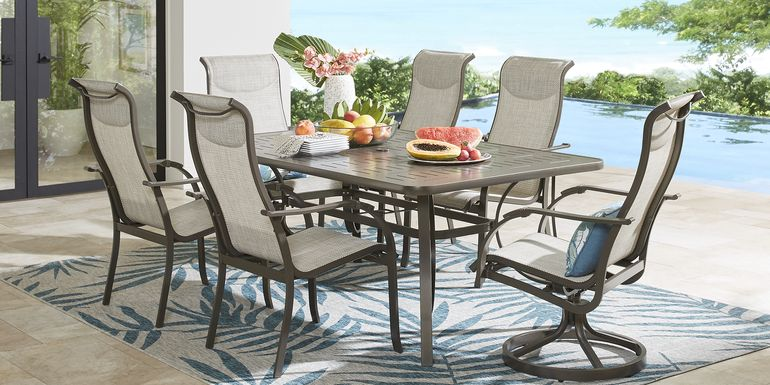 Windy Isle Bronze 7 Pc 72 in. Rectangle Outdoor Dining Set with Swivel Rockers