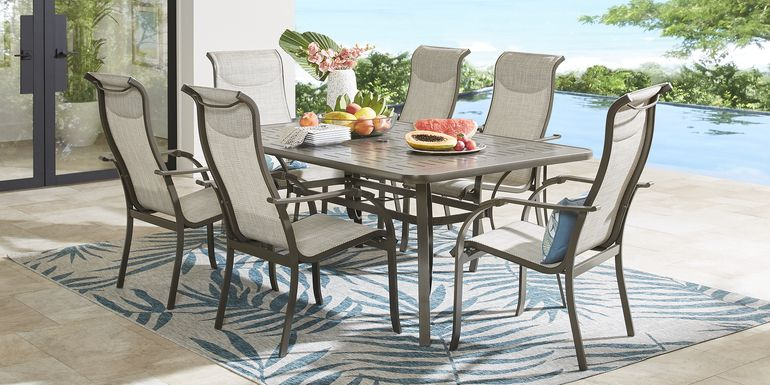 Windy Isle Bronze 7 Pc 72 in. Rectangle Outdoor Dining Set