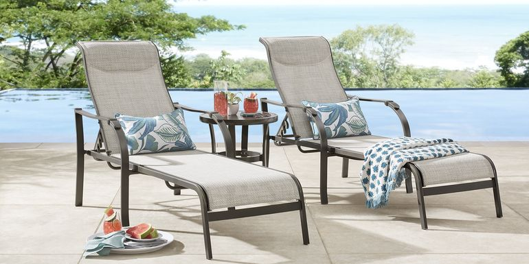 Windy Isle Bronze Outdoor Chaises, Set of 2