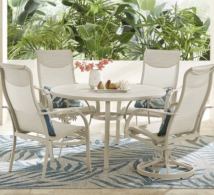 Windy Isle Sand 5 Pc 48 in. Round Outdoor Dining Set with Swivel Rockers