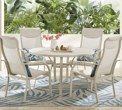 Windy Isle Sand 5 Pc 48 in. Round Outdoor Dining Set
