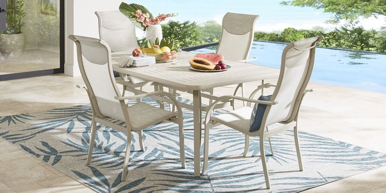 Windy Isle Sand 5 Pc 72 in. Rectangle Outdoor Dining Set