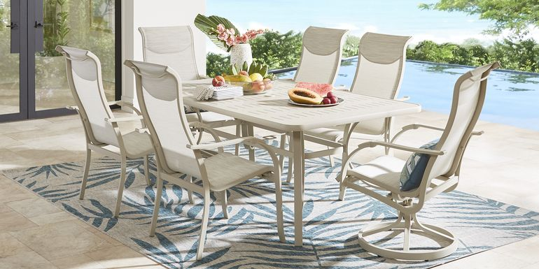 Windy Isle Sand 7 Pc 72 in. Rectangle Outdoor Dining Set with Swivel Rockers