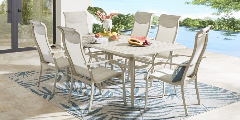 Windy Isle Sand 7 Pc 72 in. Rectangle Outdoor Dining Set