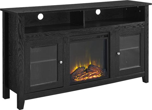 Winfield Trace Black 58 in. Console with Electric Fireplace