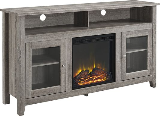 Winfield Trace Brown 58 in. Console with Electric Fireplace