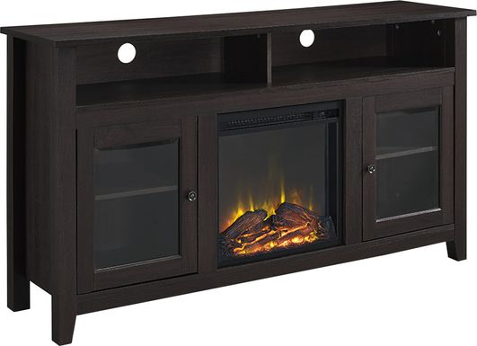 Winfield Trace Espresso 58 in. Console with Electric Fireplace