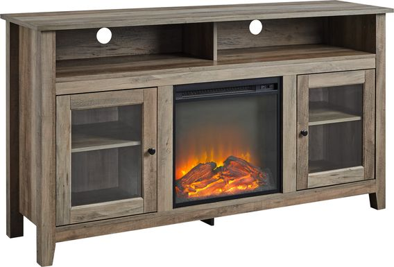 Winfield Trace Gray 58 in. Console, With Electric Fireplace