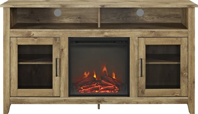 Winfield Trace Natural Barnwood 58 in. Console with Electric Fireplace