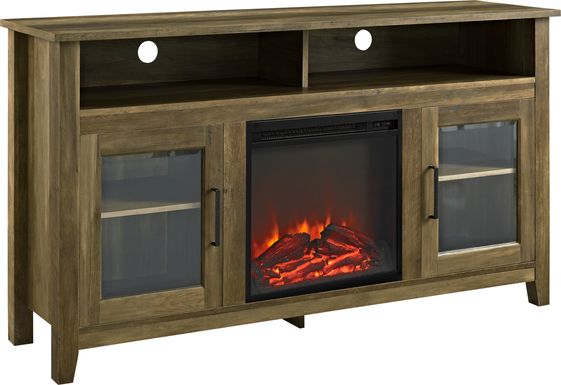 Winfield Trace Oak 58 in. Console with Electric Fireplace