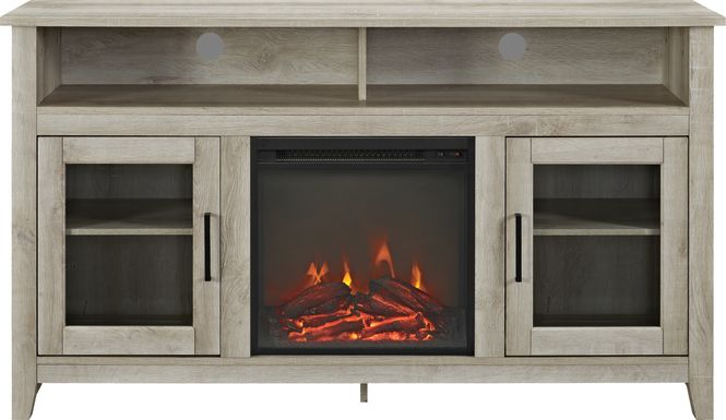 Winfield Trace White 58 in. Console with Electric Fireplace