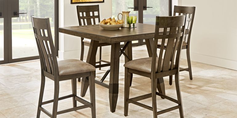 Woodcote Brown 5 Pc Square Counter Height Dining Room