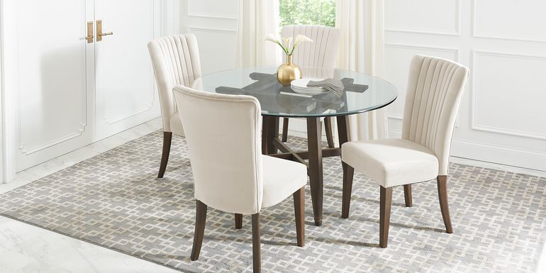 Woodland Avenue Brown 5 Pc Round Dining Set with Sand Chairs