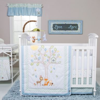 Woodland Storytime Blue 6 Pc Baby Bedding Set