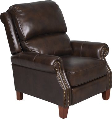 Woolsby Espresso Leather Push Back Recliner