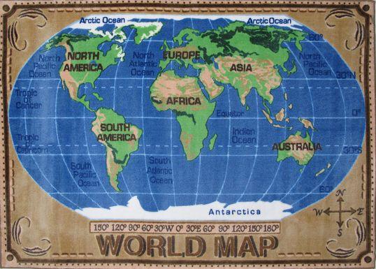Kids World Map Rug