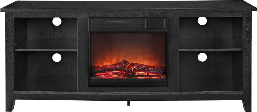Wyatt Black 58 in. Console with Electric Fireplace