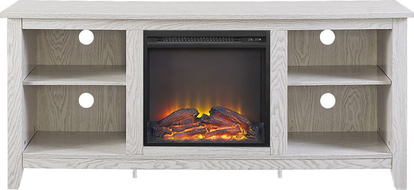 Wyatt White 58 in. Console with Electric Fireplace