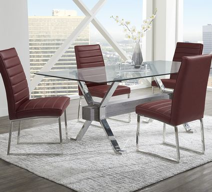 Wyndhall Chrome 5 Pc Rectangle Dining Room with Bordeaux Chairs