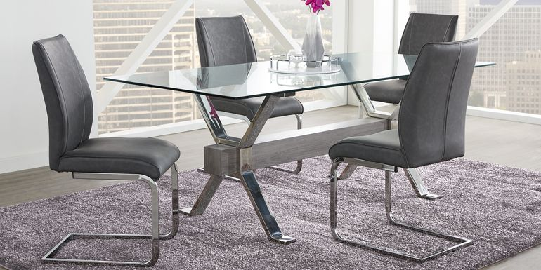 Wyndhall Chrome 5 Pc Rectangle Dining Room