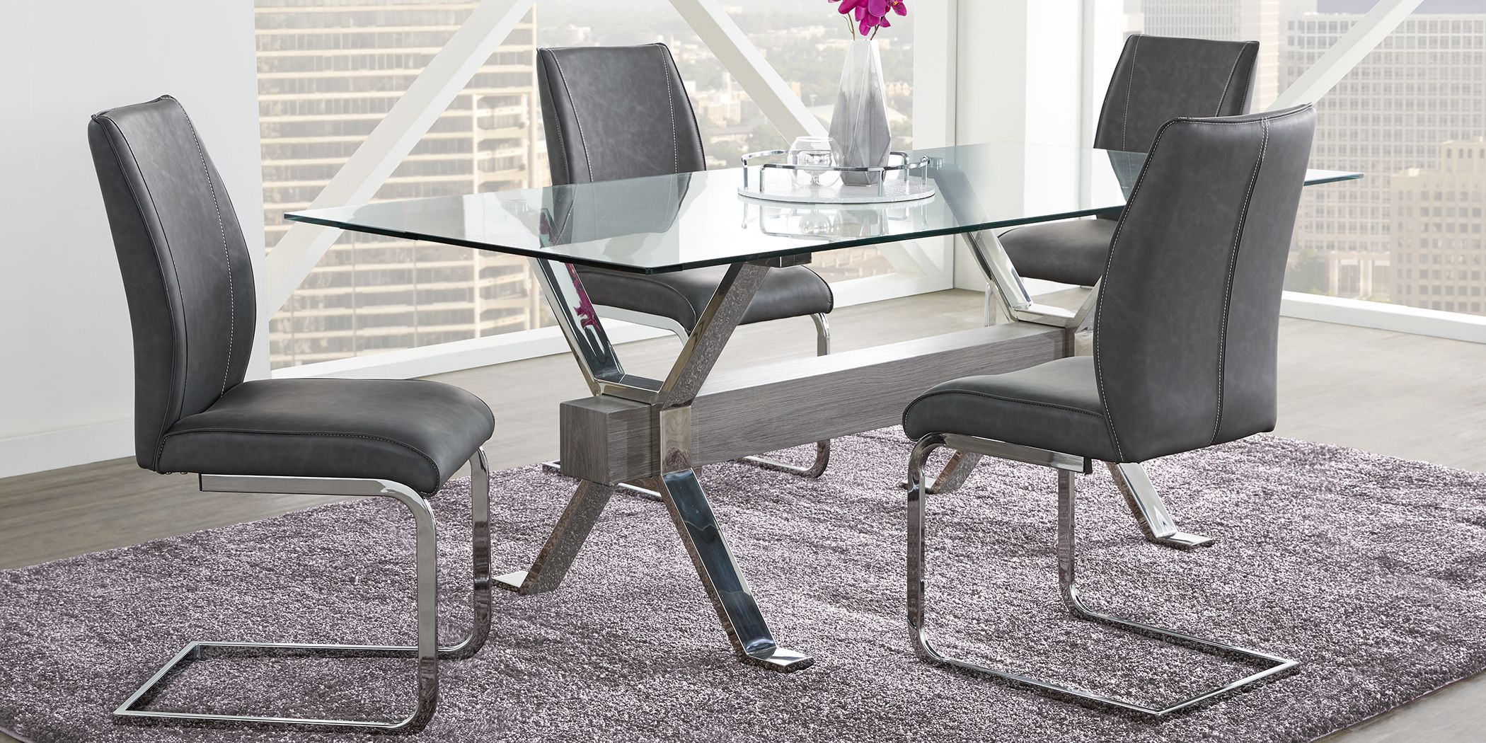 wyndhall-chrome-5-pc-rectangle-dining-set