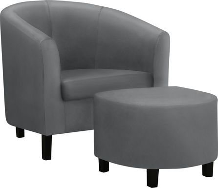 Wytower Gray Accent Chair with Ottoman