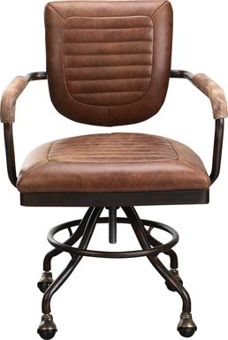 Yately Brown Leather Desk Chair