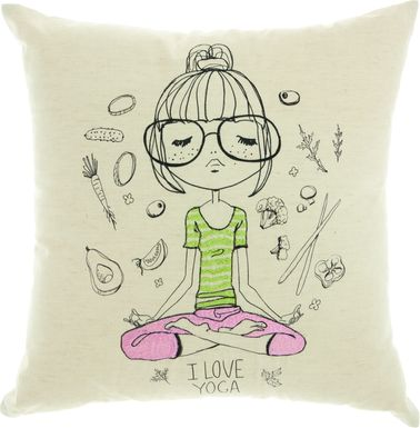 Kids Yoga Visions Beige Accent Pillow